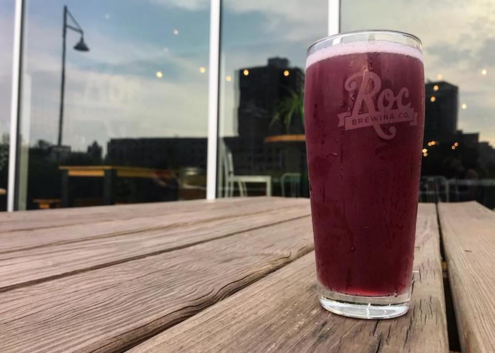 Blueberry pilsner on patio