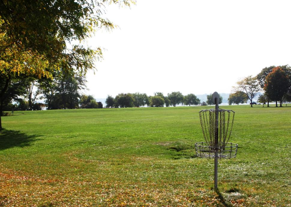 Photo of the outdoor disk golf hole at the course near routes 5 & 20