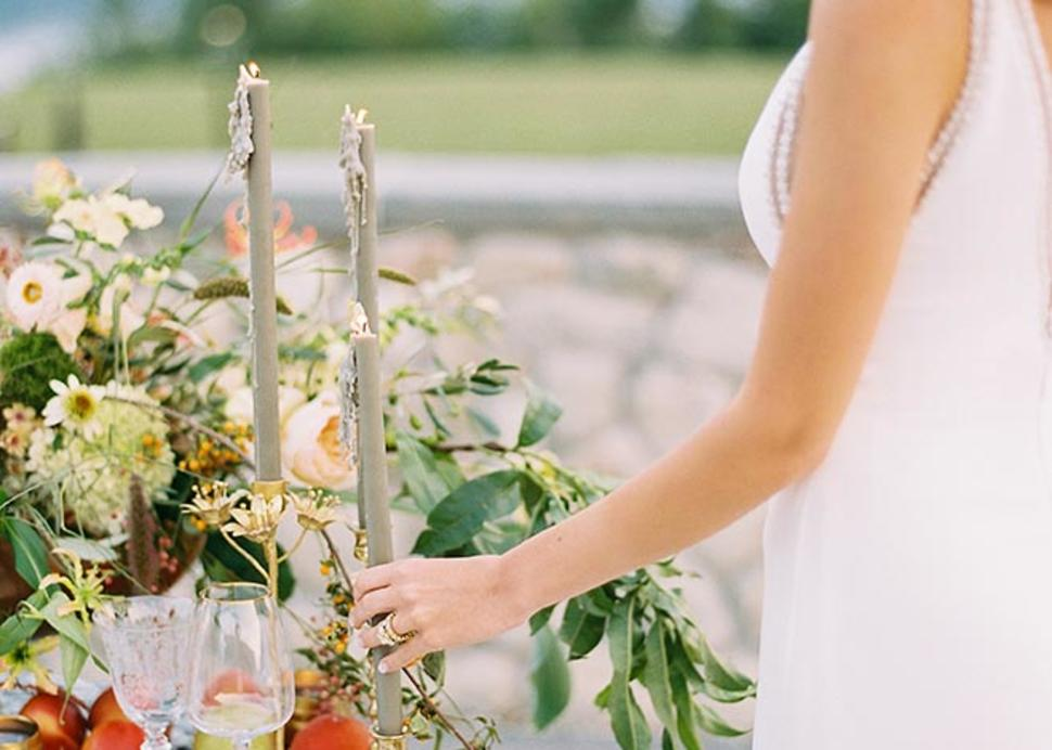 Bristol Bride Admires Sweetheart Table