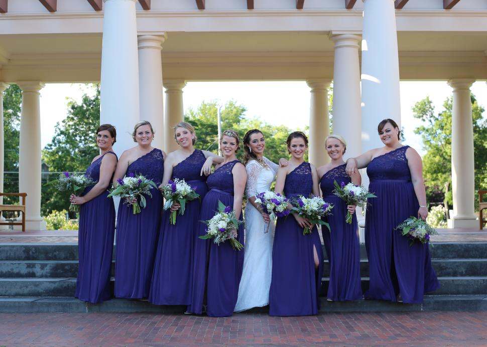 Bride and Bridesmaids pose for a photo at Sonnenberg Gardens & Mansion State Historic Park