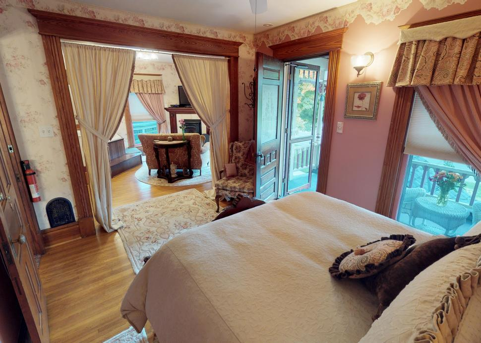 Interior of the bedroom of the Bella Rose Bed and Breakfast