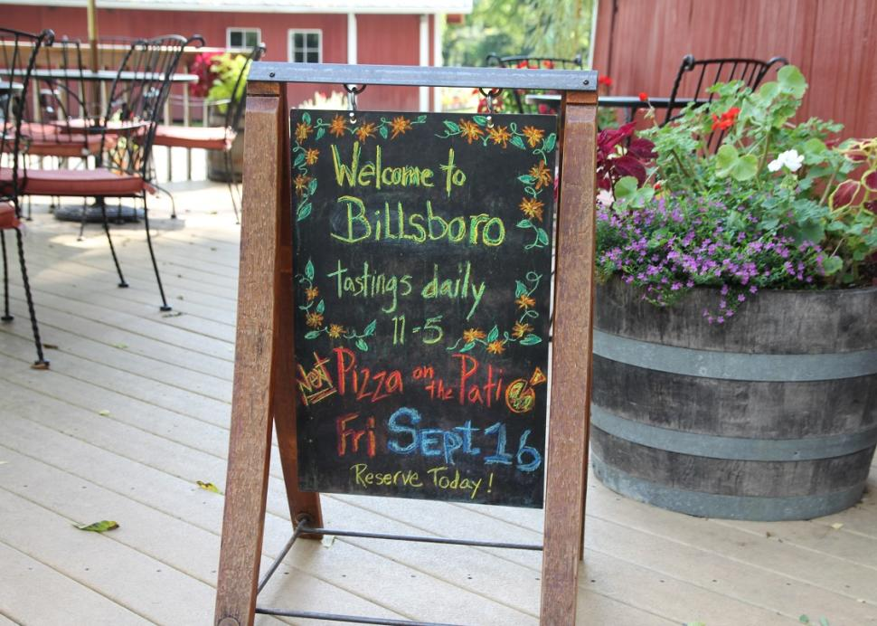 Closeup of the sign at the Billsboro Winery during a sunny day