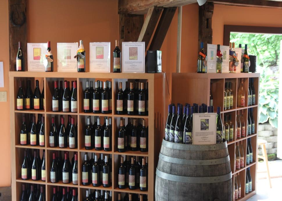 Photo of shelves holding wine at the Billsboro Winery in Geneva