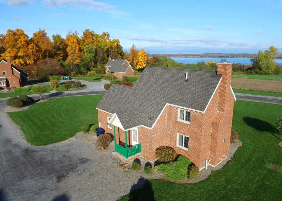 Aerial photo of the Cayuga cottage from the Cobtree Vacation Rental Homes