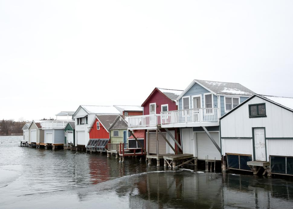 Exterior of Boathouses on Canandaigua Lake in the wintertime