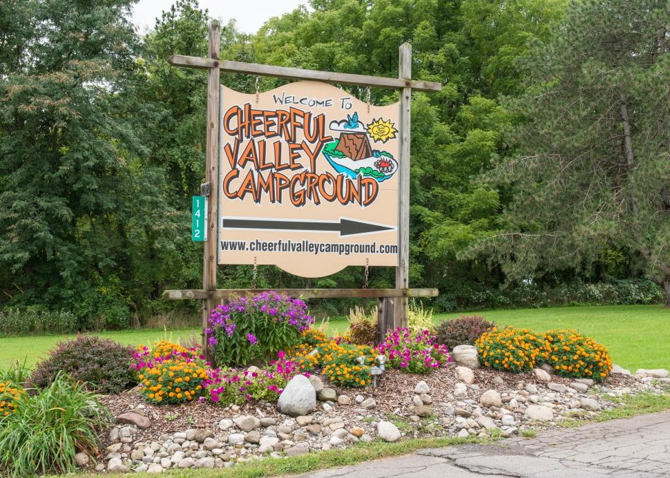 Photo of the sign outside of Cheerful Valley Campground