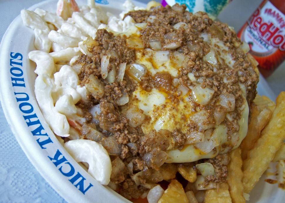 The Famous Rochester Garbage Plate, a local favorite.
