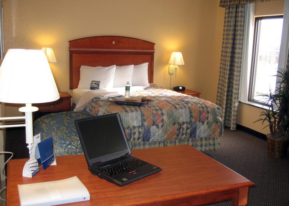 Inside of a suite at the Hampton Inn in Geneva