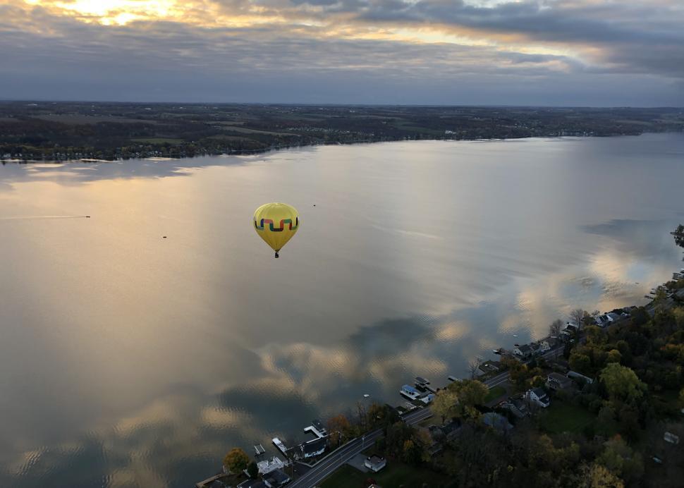 Single balloon above Canandaigua Lake