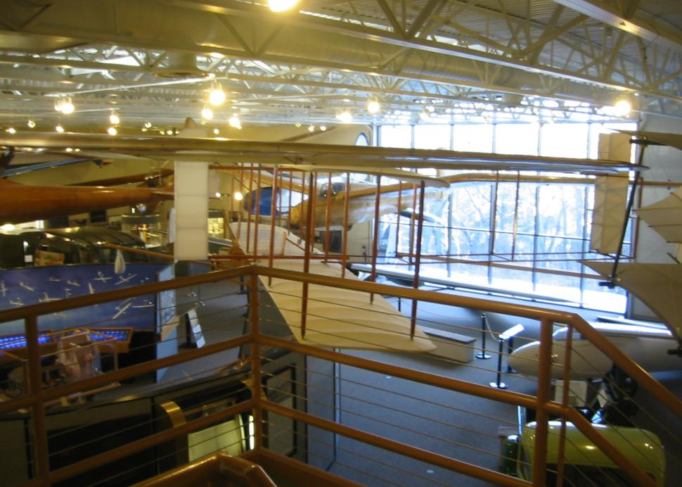Main exhibit floor from stairway of National Soaring Museum