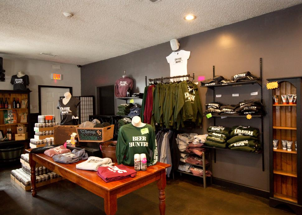 Photo of all the items for sale inside of the gift shop at Irish Mafia brewing Company in Bloomfield