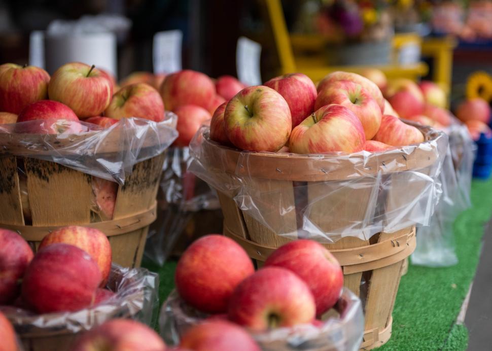 Fresh apples loaded in bins at Joseph's Wayside Market