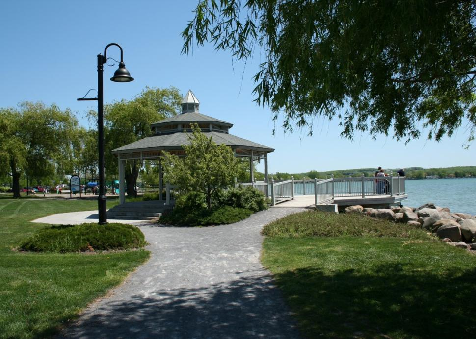 The gazebo overlooking Canandaigua Lake at Kershaw Park
