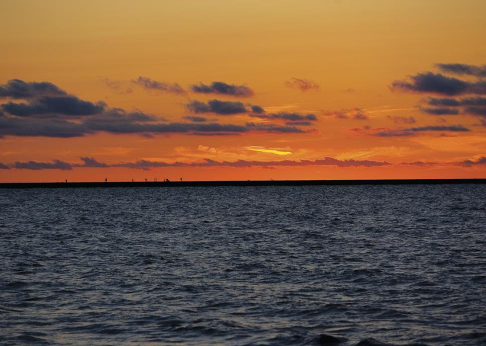 Sunset over the water at Fair Haven Beach State Park
