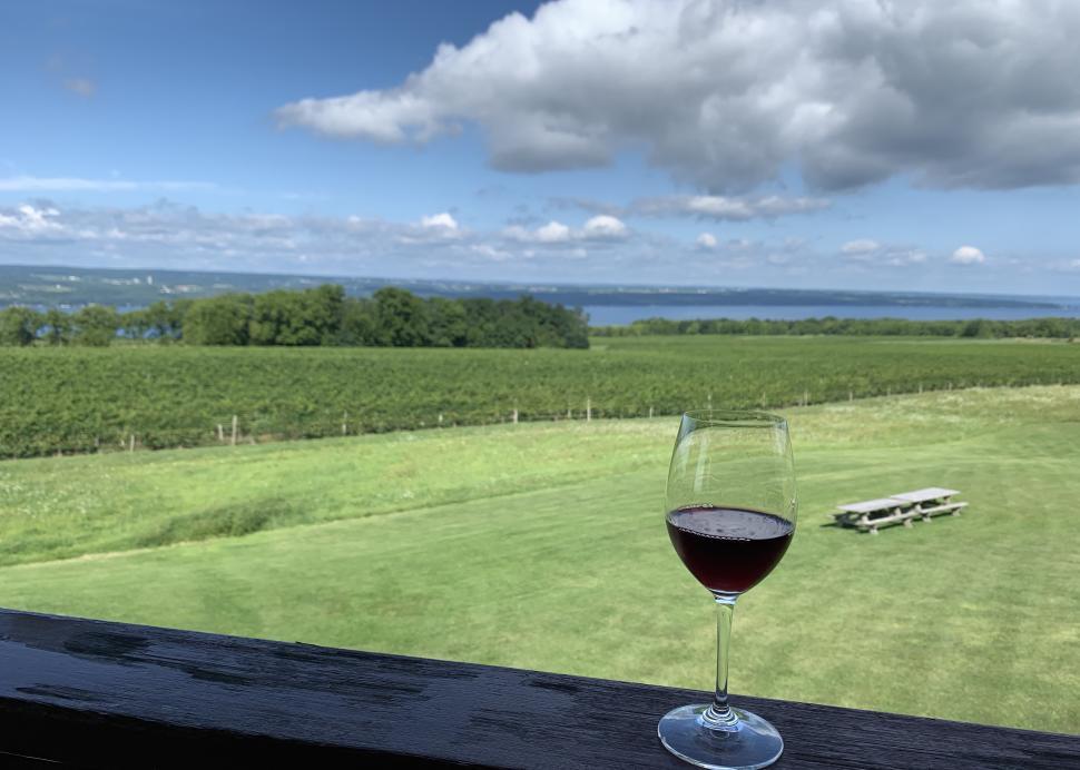 View of the lake from Lamoreaux Landing Wine Cellars