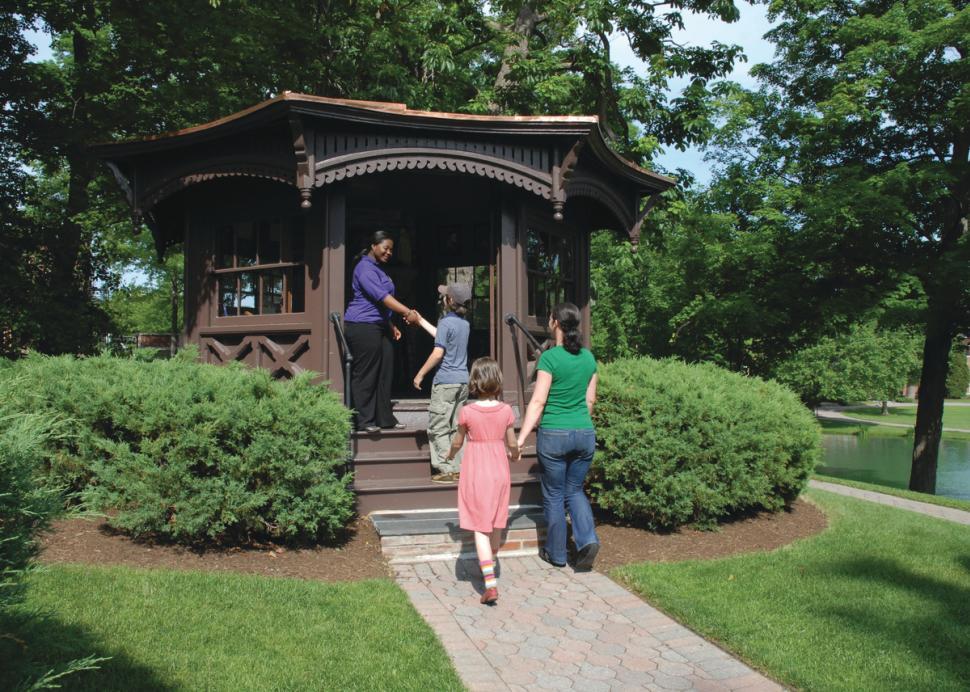 Family entering Mark Twain's writing study at Elmira College