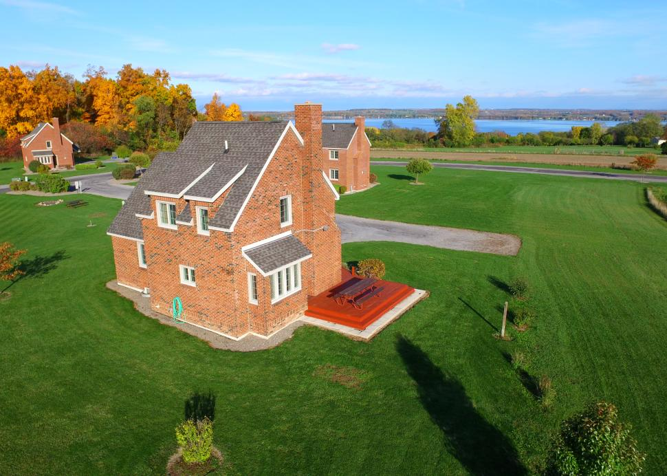 Aerial photo of the Owasco Brick Cottage owned by Cobtree Family Rental Homes