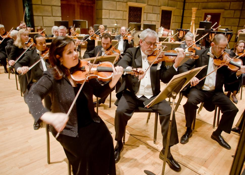 Rochester Philharmonic Orchestra string section.