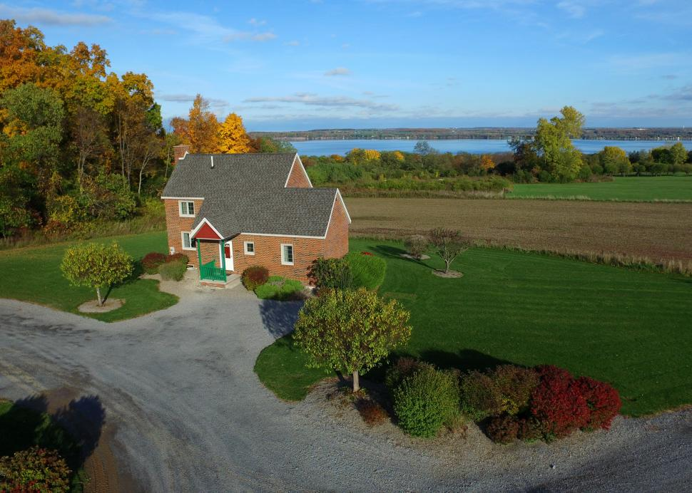 Aerial photo of the Seneca Brick Cottage at Cobtree Vacation Rental Homes