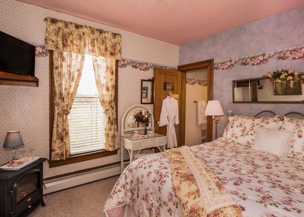 Interior of a bedroom at the Sutherland House in Canandaigua