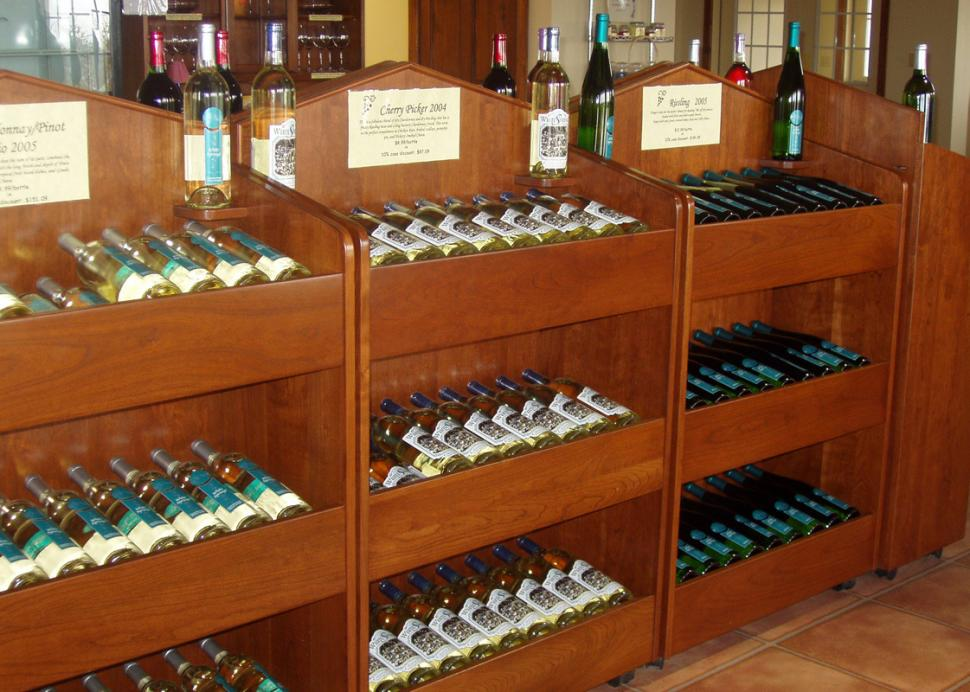 White-Springs-Winery-Geneva-wine-racks-tasting-room