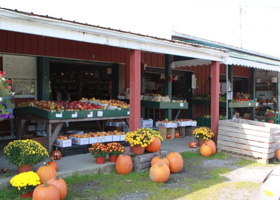 Front entrance to the store at White's Farm Market