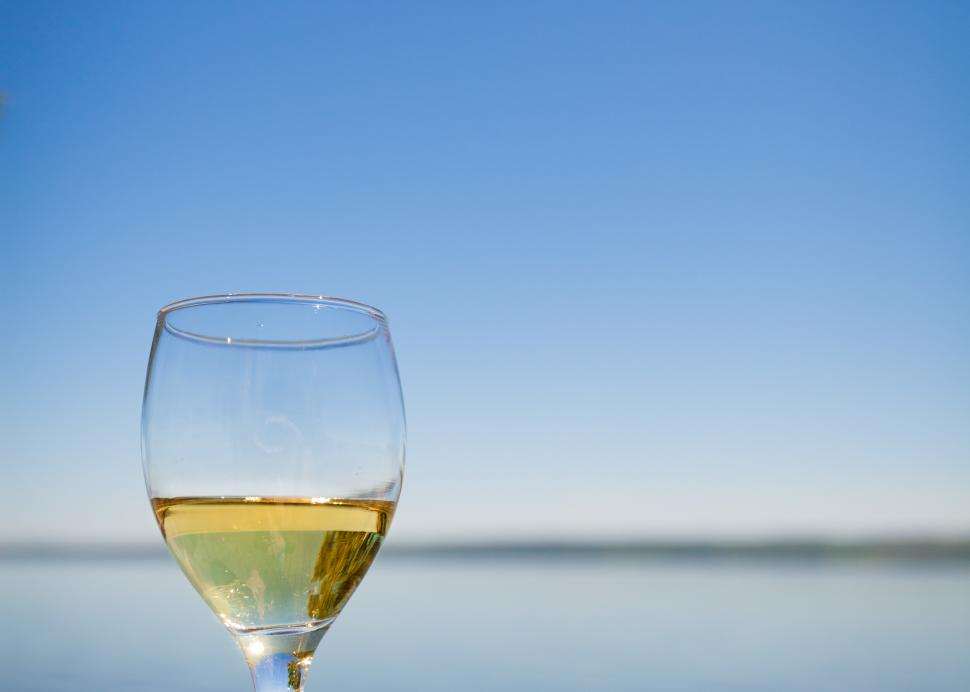 Wine glass on the lake