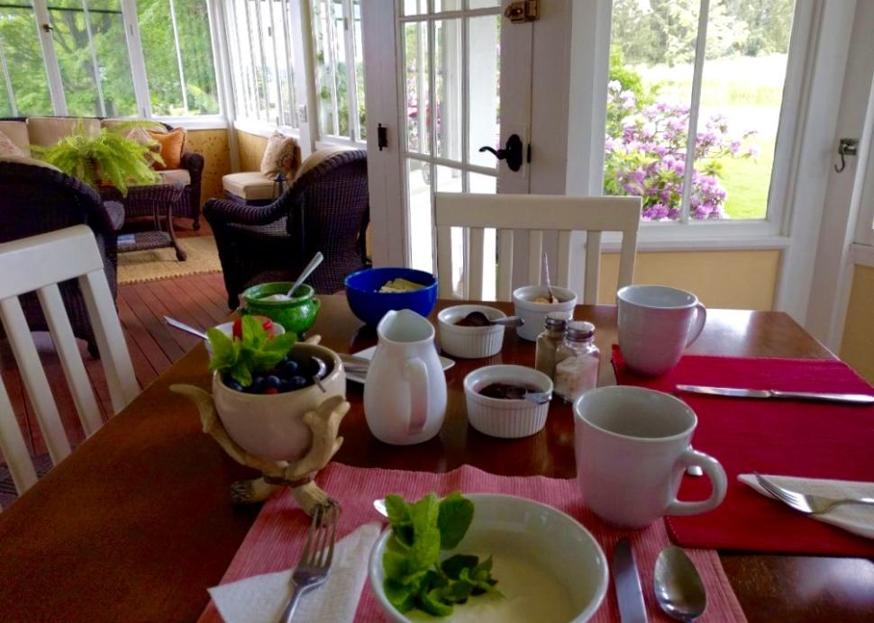Breakfast is served on the porch or patio, or in the dining room.