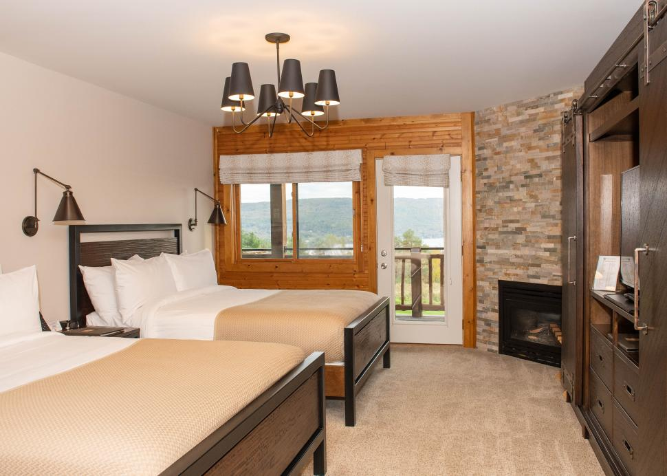 Inside of a luxurious bedroom at Bristol Harbour Resort