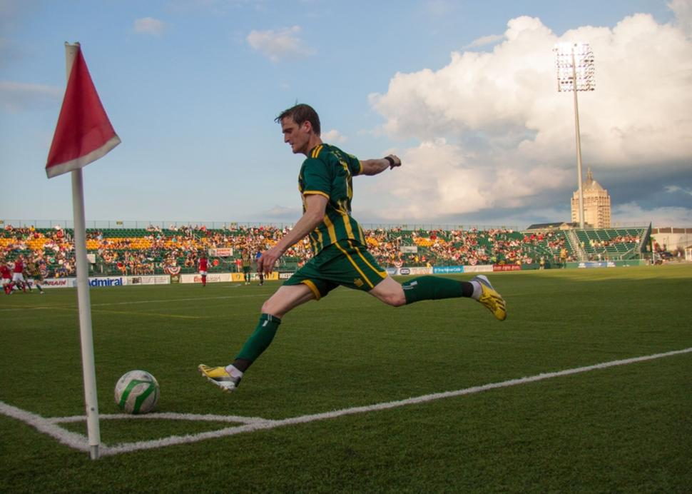 corner kick from the Rochester Rhinos Soccer Team, Rochester NY