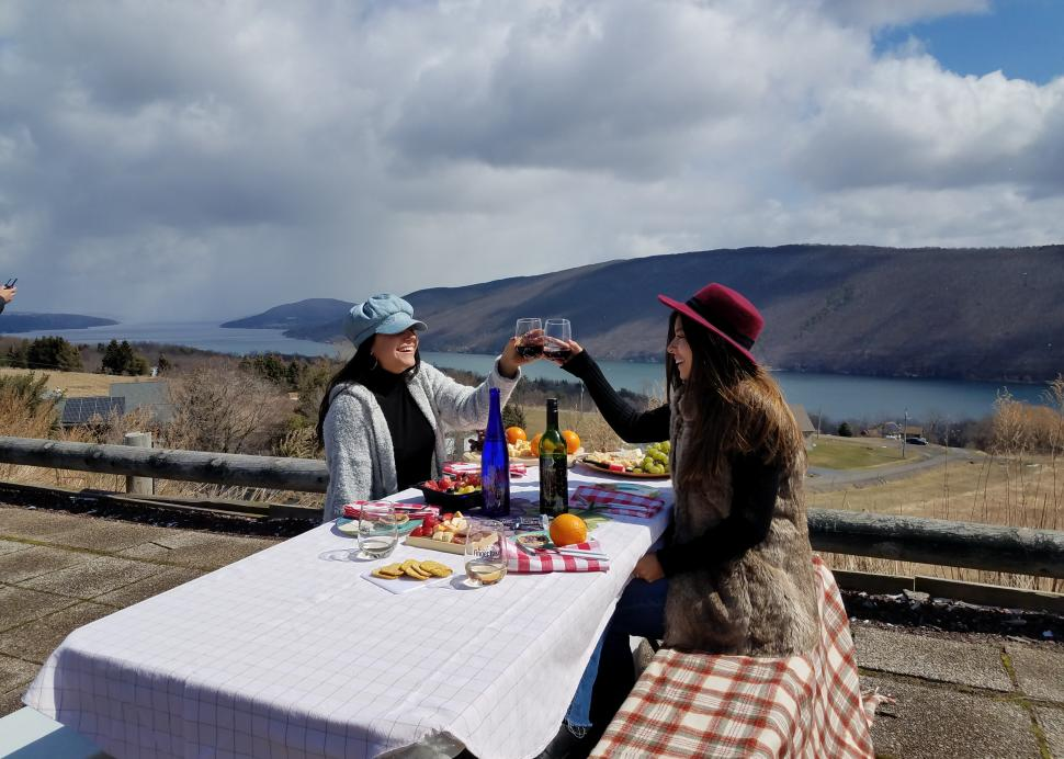 Girls enjoying a picnic