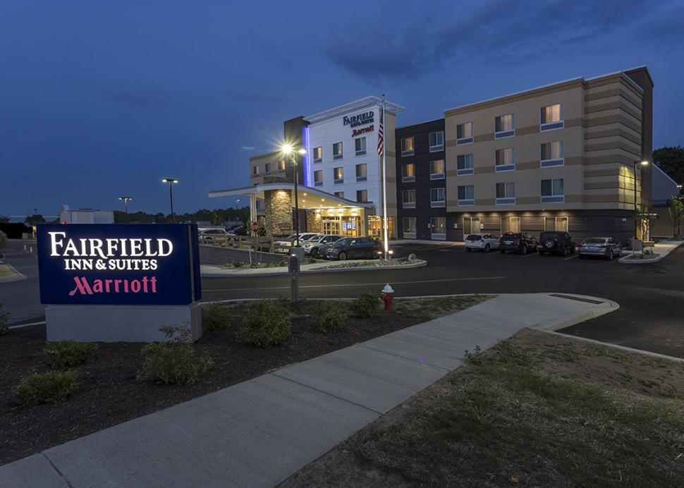 Exterior of the Fairfield Inn and Suites during the nighttime