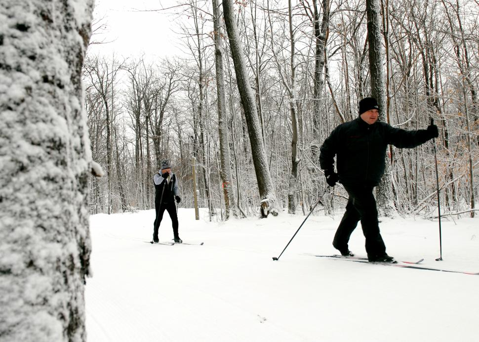 People skiing on the Bristol Mountain Nordic Center trail