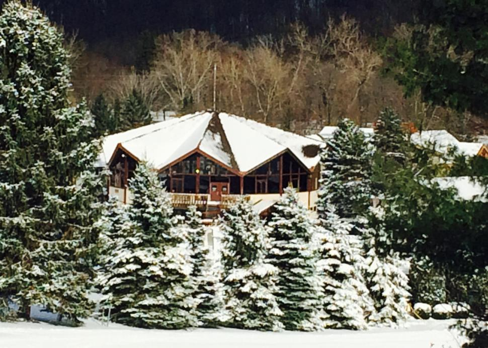 Exterior of Bristol Mountain's lodge covered in snow