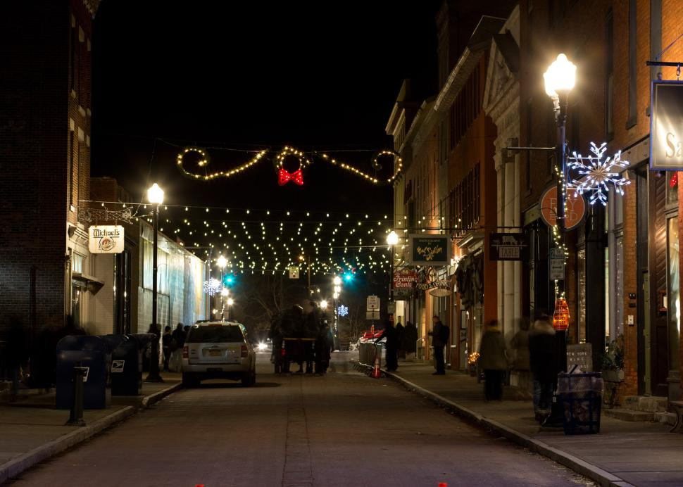 Photo of Linden Street in Canandaigua during a dark winter night