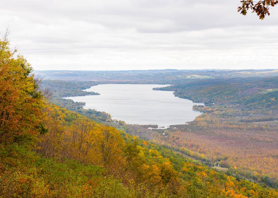 Aerial photo of Honeoye lake at Harriet Hollister Spencer State Rec Area