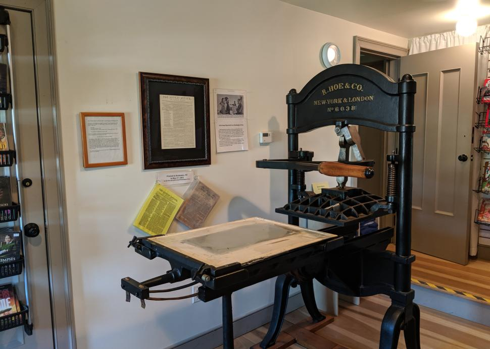 Photo of the printing press at Hiram Edson Farm