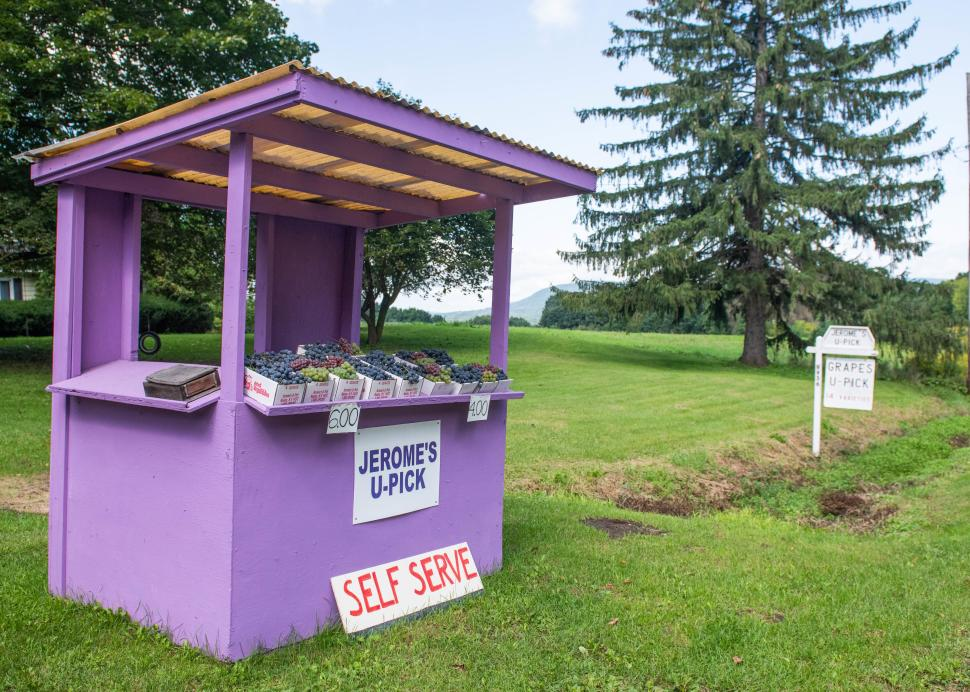 Exterior of the roadside stand for Jerome's U-Pick