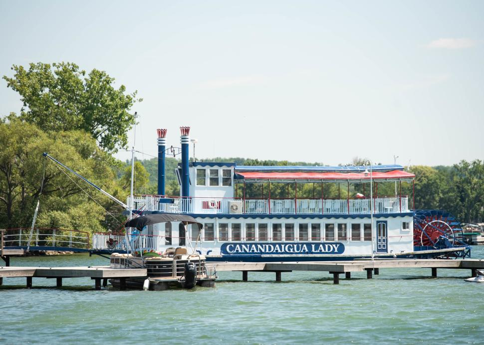 Exterior of the Canandaigua Lady during a sunny day