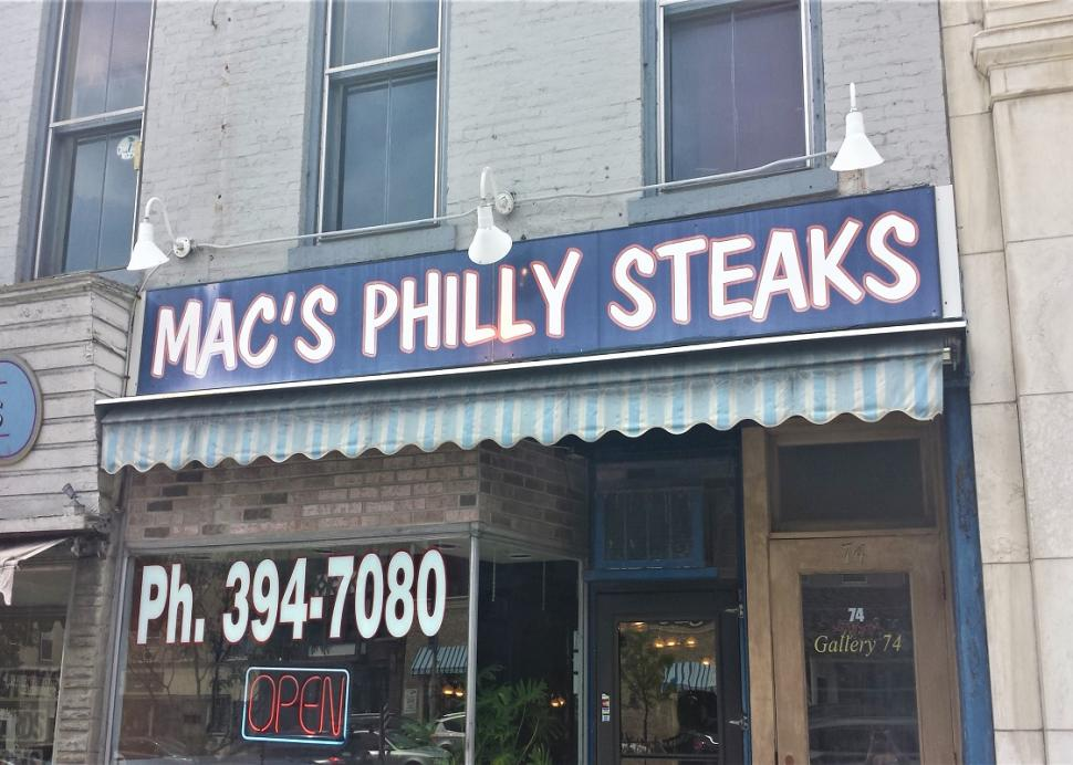 Exterior of Mac's Philly Steaks on Main Street Canandaigua