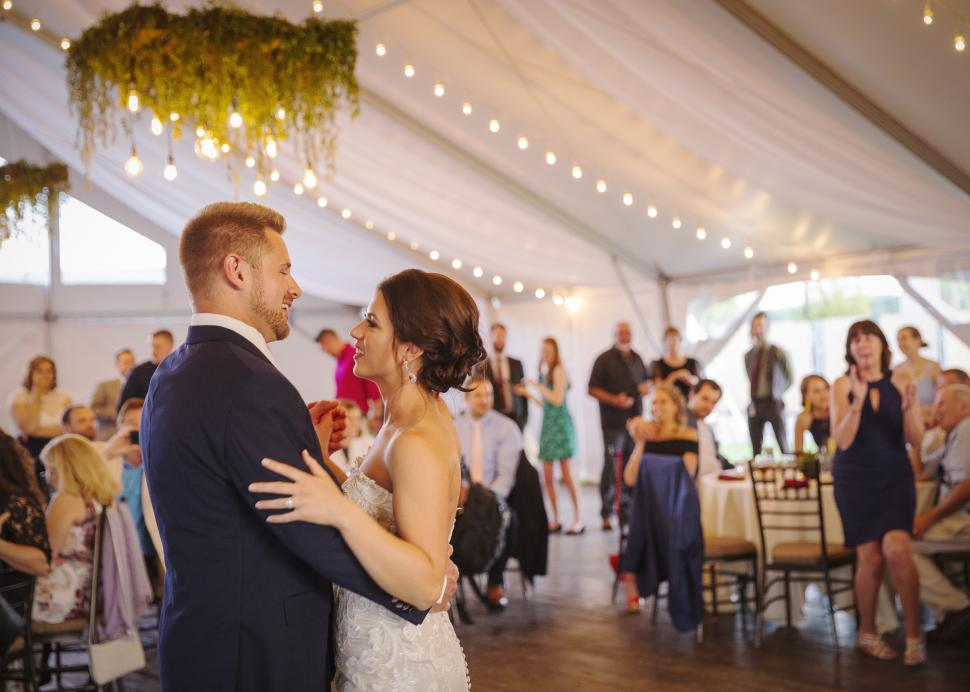 Couple dancing at their wedding inside the Grand Tent at New York Kitchen