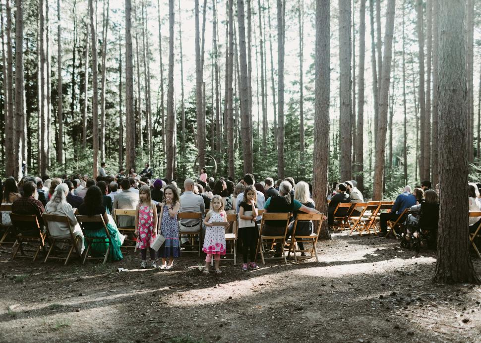 Photo of a wedding ceremony being held within the woods at the Cummings Nature Center