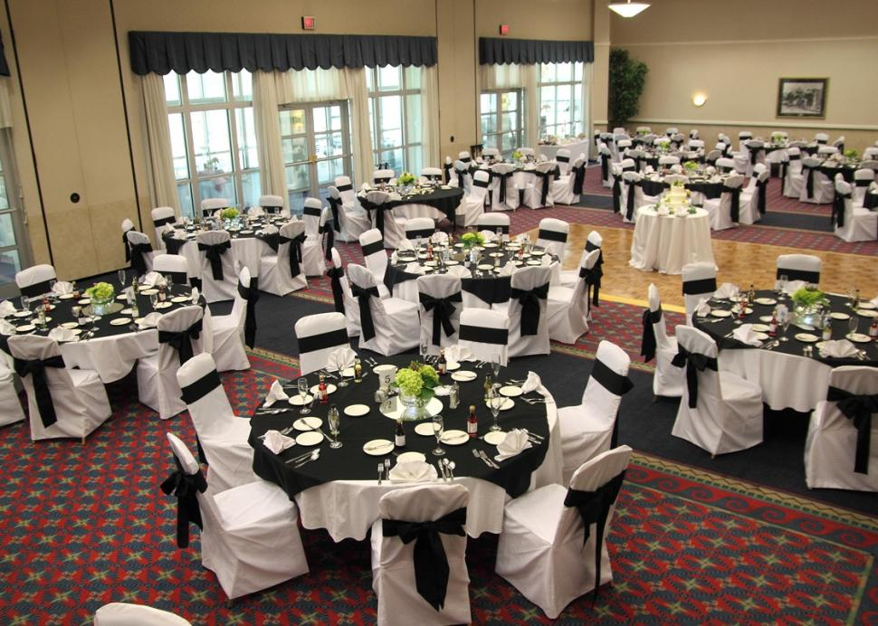 Interior of the seating area for a wedding reception at the Ramada Geneva Lakefront Hotel