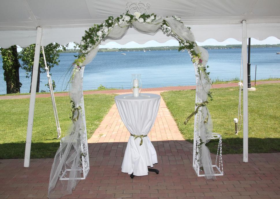 A wedding isle overlooks Seneca Lake at the Ramada Geneva Lakefront Hotel