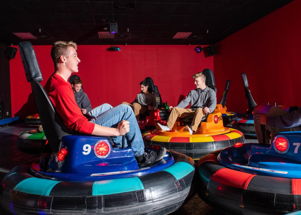 A group of boys enjoy a round of Bumper Cars at the Roseland Family Fun Center