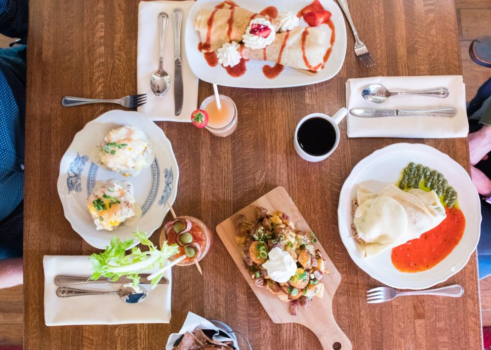An overhead view of plates ready to be eaten at Simply Crepes in Canandaigua