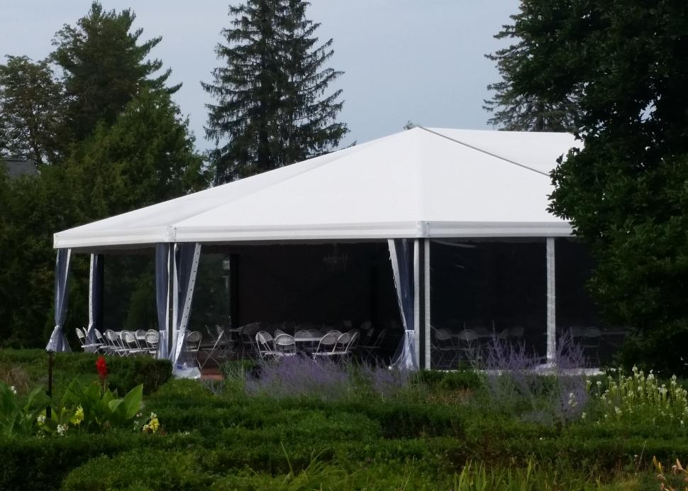 Exterior of the wedding tent setup at Sonnenberg Mansion