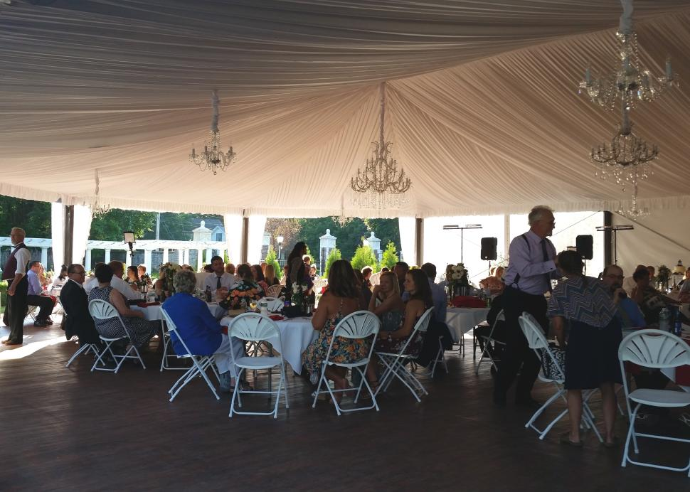 Interior of the wedding tent at Sonnenberg Mansion