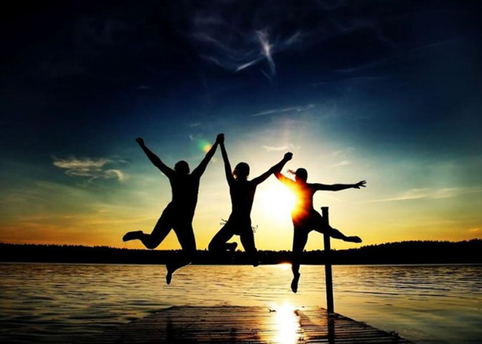 sunset jump in the lake
