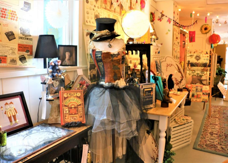 Old style dresses sit for sale inside of True Lily in Canandaigua